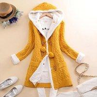 Women's Wool & Blends Winter Coat Women Long Hooded Warm Jacket Ladies Knit Button Cashmere Thick Cardigan Jacket#1109