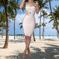 Sexy Scoop Prom Dress Knee Length Party Dresses Short Robe de Satin Appliques Women Gowns Summer Evening Gown
