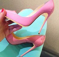 Casual Designer Sexy Lady Fashion Women Shoes Pink Patent Point Toe Toe Tacones altos Tacones delgados Bombas de tacón 120 mm 10 cm 8cm Tamaño grande 44