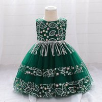 Girls Dresses 1st Birthday Dress For Baby Girl Kids Clothes Wear Children Clothing Embroidery Flower Summer Princess Party B7641