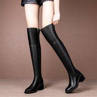 Bottes Meotina Femmes En Cuir Véritable Hiver Hiver Capuzze à talons épais sur le genou Haute Round Toe Femmewear