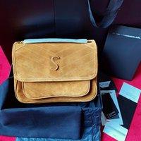 브라운 스웨이드 니키 어깨 크로스 바디 가방 여성 봉투 메신저 가방 체인 크로스 바디 디자이너 핸드백 케이트 레이디 지갑 편안한 클러치 지갑