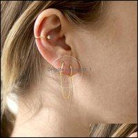Charm JewelryCharming Trendy Gold Catena catena nappa 1 pz 925 sterling sterling hoop rotondo per le donne orecchini moda 915 T2 Consegna a goccia 2021 YV14C