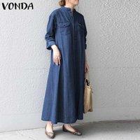 Denim Sommerkleid Frauen plus Sizedress Vintage Taschen Langarm Solid Maxi Kleid Vonda Robe Vestido Urlaub Freizeitkleider