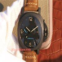 XF 탄소 섬유 새로운 진짜 사진 시계 44mm 검은 얼굴 갈색 스트랩 슈퍼 1950 P 441 Origina 상자와 자동 무브먼트 패션 망 시계 A43