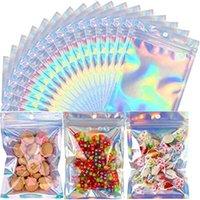 100pcs lot il sacco di alluminio sacchetto di imballaggio di plastica sacchetti con cerniera olografica sacchetto di stoccaggio richiudibile con foro appeso per spuntino alimentare