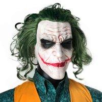 조커 마스크 공포 광대 코스프레 라텍스 마스크 녹색 머리 가발 무서운 할로윈 파티 의상 소품