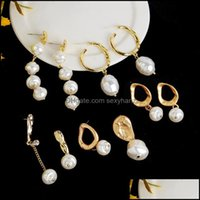 Jewelrybaroque Pearl Shaped Earrings Baroque Stud Pearls Earring Women Natural Conch Drop Delivery 2021 Aqvhb