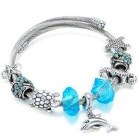 Blue Natural Crystal Bracelet Dolphin Bangle For Women Bead Armband Brass European Fit Pandoras Bracelets Love Gift