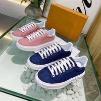 Denim Lace Up Imprimir Lona Sapatos Casuais Esportes Ao Ar Livre Mulheres Designer Side Runner Trainers Stellar Low Top Sneakers Q-73
