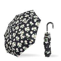 傘の創造的な女性のギフトParasol製品の三倍の折りたたみシルバープラスチック傘の手オープン湾曲ハンドルのデイジー印刷