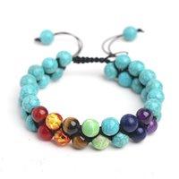 Pulseira de roda de pulso de cor natural Turquesa vulcão vulcão de ágata dupla camada ajustável bracelete ornamento
