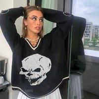 Hip Hop Mayitwear Maglioni Maglioni sovradimensionati per le donne Pullover Casual Y2K Jumper Skull Print Jersey Egirl Streetwear Felpe con cappuccio X0804