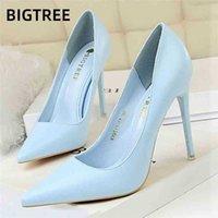BigTree Shoes Мода Женщины Каблуки PU Кожаные Насосы Женщина Сексуальная Высокая Направленная Вечеринка Женщина Стелето Плюс Размер 43 210610