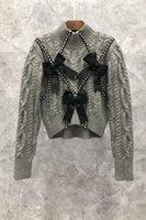 Pre-Petty Asset Western Bow Beaded Short Sweater Womens 가을 유럽 제품 새로운 우아한 슬리밍 스웨터 9BB