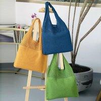 Shoulder Bags Handmade Lady Retro Chic Crochet Handbag 2021 Korean Fashion Knitted Braid Hollow Black Yellow Top-handle Tote Bag Shopper Sac