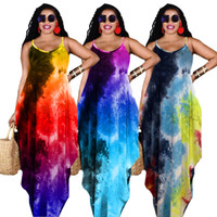 Tie dye Summer Women Maxi Dresses sexy one-piece dress Casual loose skirts Fashion girls Beach wear Plus size S-2XL Floor-length long skirt DHL 4958