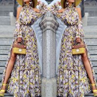 보헤미안 인쇄 긴 드레스 Vestidos de Festa 패션 Womens 섹시한 소매 어깨 인쇄 된 저녁 터틀넥 드레스 # 8