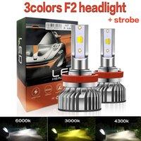 2PCS Tricolor Car Headlights H7 LED Bulbs H4 H8 H3 Auto Fog Lamp 9005 9006 Foglight Bb3 Hb4 H1 H11 3 Color+Strobe Motorcycle Headlamp
