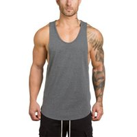 Men's Tank Tops Cotton Singlets Bodybuilding Muscle Stringer Top Men Gym Clothing Solid Fitness Sleeveless Shirts Vest Training Sports