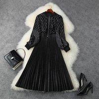 Abiti casual Autunno Autunno Autunno Manica Lunga Colletto Black Pure Pure Color Velvet Paneling Pieghettato Pieghettato Dress Mid-Vifalful Elegante LSP15T11276 FU9M
