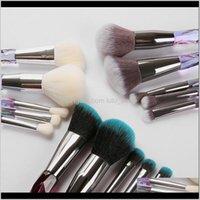 Outils Aessories Health Beauty Drop Livraison 2021 Qualité 6style Diamond Shape Poignée arc-en-ciel 5pcs / set Brushes Set Fondation professionnelle C