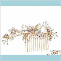 Jewelryrose Gold Comb Headpiece Hair Aessories Wedding Bridal Jewelry Crystal Rhinestone Crown Tiara Pearl Headdress Princess Queen Party Dr