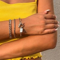 Women Cross Twist Hollow Out Chains Bracelets Punk Square OT Buckle Alloy Hand Jewelry Sets Female Multi Layer Party Business Link Chain Ornaments Gold White K