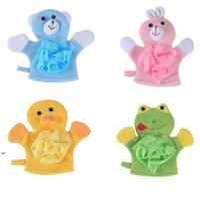 4Colors Animals Style Showers Sponge Towels Cute Children Baby Shower Bath Towel Bathing Wash Cloth Body Scrub Glove Bathings DWE8367