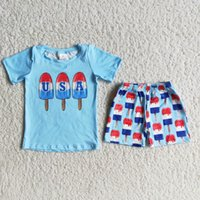 Baby boy summer set popsicle pattern blue T-shirt July 4th design boutique clothing