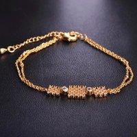 Link, kette dazz mode einfache quadratische armband gold farbe kupfer zirkon schmuck für mädchen frauen party bankett tanzen hochzeit armbänder geschenk
