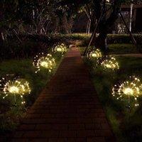 Светодиодный солнечный светильник Fireworks Открытый IP65 Водонепроницаемые Садовые Лампы Энергосберегающие Газонные огни Для Праздничного Чехола Хризс Теплый Белый