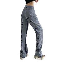 Perna Calças Streetwear Jeans Bordados Mulheres Cintura Alta Cintura Baggy Denim Calças Hipas Hip Hop Hop Casual 2021 Moda carta