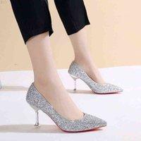 Sexy dünne High Heels Schuhe Damen Dame Glitter Pumps Rote Sohle Bodend Frau Weibliche Bling Silber Gold Party Damen Zapatos Mujer 210610 RBCGRHF