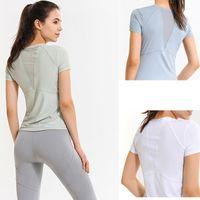 Lu Yoga Camisas T-shirt T-shirt T Mulheres Lulu Esportes Tops Respirável Back Malha Que Costura de Mangas Corridas Running Roupas de Fitness