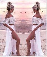 İki Parça Dantel Bikini Kapak Up Plaj Elbise Kadınlar Yaz Pareo Uzun Etek Kapalı Omuz Kırpma Üst Kapak Tunik Beachwear Beyaz Kadın Swimwea