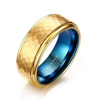Wedding Rings Real Tungsten Carbide Ring For Men Quality Gold-color Outside Blue Inside 8mm Width