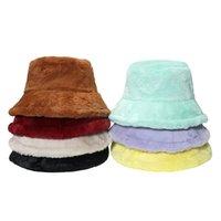 Warm Panama Caps Outdoor Black Lavender Mint Burgundy Solid Color Faux Fur Winter Bucket Hat For Women Men