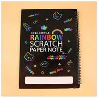 Sihirli Scratch Kağıt Not Kitap Renk Sanat Gökkuşağı Kazıma Boyama Çocuklar Dekompresyon Oyuncaklar Yetişkin Yaratıcı DIY Doğum Günü Hediyesi Not Defteri