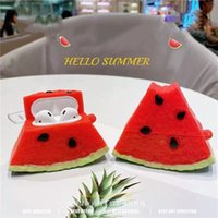 3d vattenmelon hörlurar hörlurar Väskor för Apple AirPods 1 2 Pro 3 Mjukt silikon Sotrage Bag Cover Wireless Bulutooth Laddning Box Headset Earbuds Case