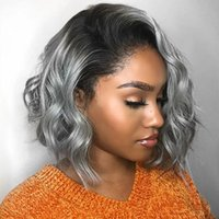 Silver Gray Blonde Bob 13x6 Lace Front Human Hair Wigs Side Part Body Wave 13x4Lace Frontal Wig with preplucked Hairline full lacewigs bleached knots