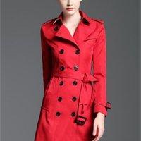 Varmförsäljning! Kvinnor Klassisk Mode British Middle Long Trench Coat / High Quality Brand Designer England Trench för kvinnor Storlek S-XXL 4 Färger
