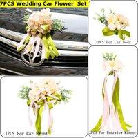 7Pcs Set Silk Ribbon Artificial Wedding Car Bow Front Door Handles Rearview Mirror Decoration Floral Ornament Decorative Flowers & Wreaths