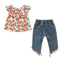 2pcs 아기 소녀 유아 파인애플 옷을 입은 숄더 탑 + 찢어진 데님 반바지 복장 세트 360 U2