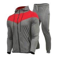 Conjuntos de ejecución Chándalsuits Men Sudadera Poliéster Sweating Fleece 2021 Gimnasios Chaqueta de primavera + Pantalones Casual Hombre Traje Sportswear Fitness