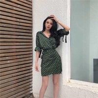 Летняя ретро волновая точка рубашка платье женские новые шикарные короткие рукава цельные белветмассы мода веселая рубашка платье женское wa203