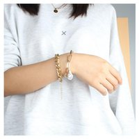 Charm Bracelets Baroque Shaped Imitation Pearl Bracelet Women Alloy Simple Chain Set Miami Boho Thick Gold Color Bangles Fashion