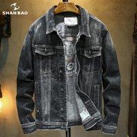 Vestes pour hommes Shan Bao 2021 Automne Black Denim Veste Classic Broderie Trend Brand Jeunes hommes Slim revers Coton de haute qualité