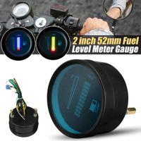 12 V LED Yakıt Seviyesi Ölçer Ölçer Alüminyum Alaşım Motosiklet Araba Otomobil için - Mavi