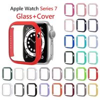 41mm 45mm Protective Cases Cover with Tempered Glass Film For Apple Watch Series 7 6 SE 5 44mm 40mm Fit iWatch 4 3 38mm 42mm Shock Proof Protector Case